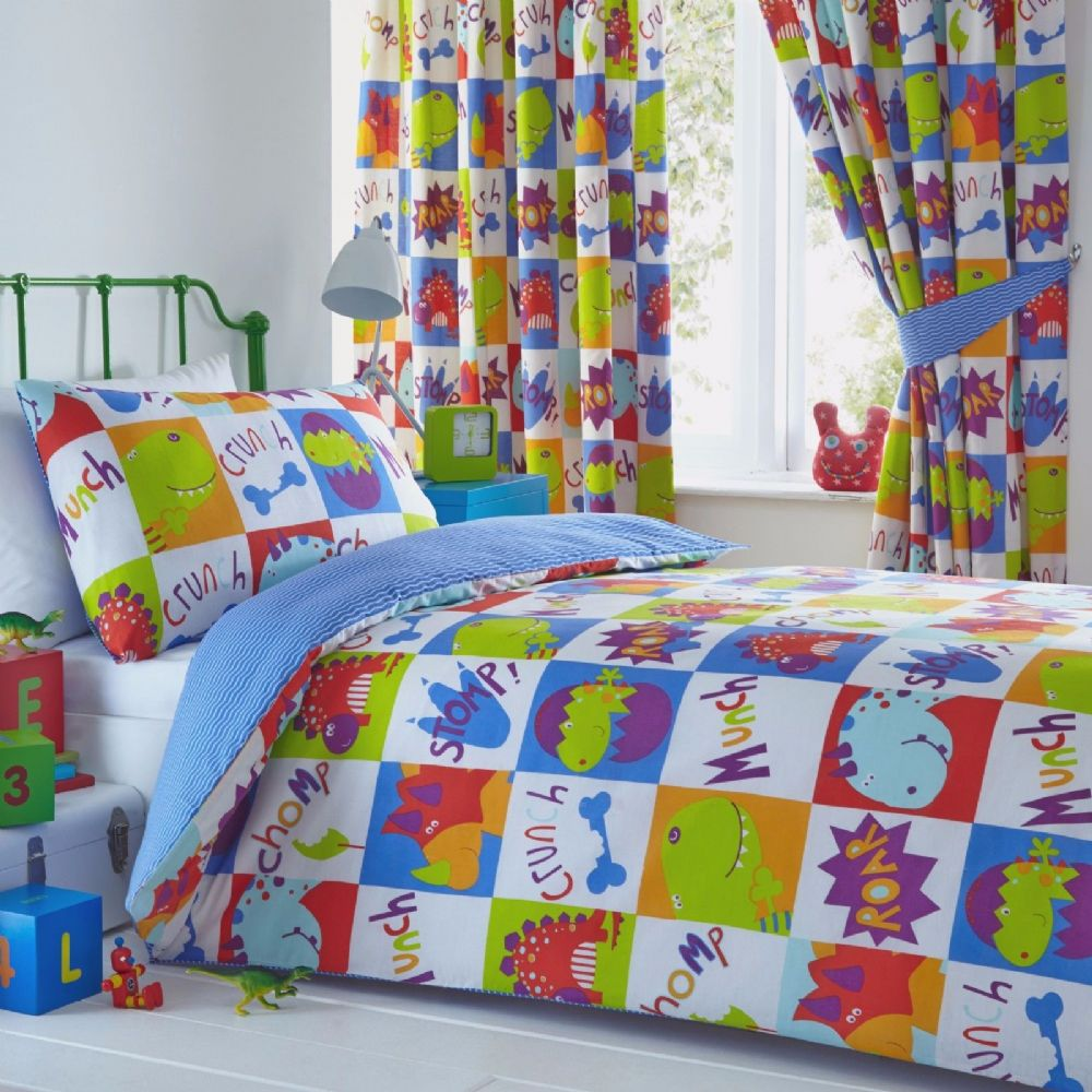 Kids Boys Bedroom Bedding Duvet Quilt Cover Set Dinosaur